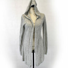 Cynthia Rowley 2-Ply 100% Cashmere Soft Lace Knit Hooded Cardigan Sweater Medium