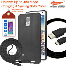Samsung HTC LG Micro USB Charge Sync Cable + GALAXY Note 4 Matte Case Real Glass