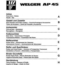 Welger AP45 Baler Parts Manual (PDF file) SPARE PARTS LIST