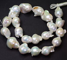 Huge FreshWater White Nucleated Flameball Baroque Pearl 17 Inch Strand