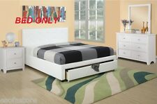 New White Faux Leather Queen Size Bed Modern Bedroom Furniture Storage Drawer