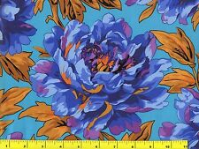Large Blue Purple Orange Peony Flowers Floral Quilting Fabric by Yard  #913