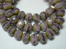 25 beads - 8x6mm Lilac Purple Stripe Picasso Czech Fire polished Rondelle beads