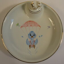 Baby Childrens Warming Feeding Dish Ceramic France Blue Bird Parachute Cute
