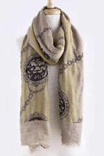 B15 Ornate Lion Chain Raw Edge Mustard Yellow Beige Black Scarf