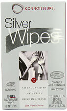 10 Connoisseurs Silver Polishing Wipes Cloth Cleaning Tarnish Remover Silverware