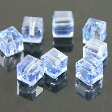 30 Pieces 4mm Swarovski cube crystal bead B blue AB