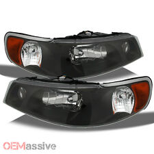 Fits 98-02 Lincoln Town Car Amber Black Bezel Headlights Headlamp Set Left+Right