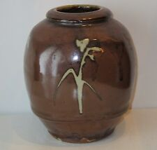 MIKE DODD STUDIO POTTERY VASE  TENMOKU WAX RESIST DESIGN