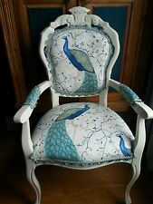 CARVER FRENCH STYLE LOUIS BOUDOIR  CHAIR IN PEACOCK FABRIC