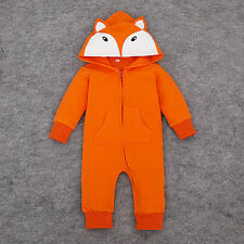 BABY ANIMAL FOX HOODED OUTFIT BABYGROWS BOYS GIRLS HOODIE ZIP CLOTHES TOP 6-12 M