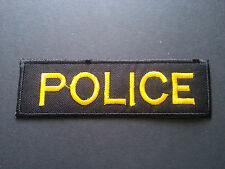 HEAVY METAL PUNK ROCK MUSIC SEW / IRON ON PATCH:- POLICE STRIPE (b) YELLOW