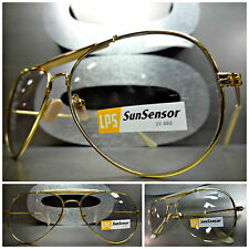 VINTAGE AVIATOR Style SUN GLASSES Gold Frame Transition Lens Darkens in Sunlight