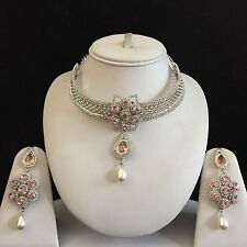 PINK SILVER INDIAN VINTAGE COSTUME JEWELLERY NECKLACE EARRINGS DIAMOND SET NEW