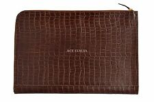 Deluxe New Tan Croc Print Real Leather Under Arm Folder Document Holder Case