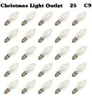 FREE SHIP 25 C9 Clear/White Glass Replacement Wedding Christmas Light Bulbs