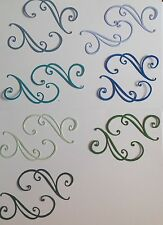 20 DIE CUT MANOLIA DOOHICKEYS SWIRLS TEALS MIX FOR KANBAN/TILDA