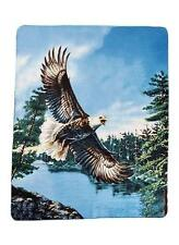 "Eagle over lake Bird Animal Fleece Throw Wildlife Bed Blanket 60"" X 50"" New"