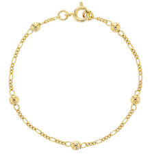 """18k Yellow Gold Plated Ball Thin Chain Children's Girl Traditional Bracelet 6"""""""