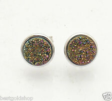Round Rainbow Drusy Stud Earrings Anti-Tarnish 925 Sterling Silver