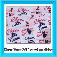 """Homecoming Cheer M2MG 5 yds 7/8""""on white GG Ribbon TWRH"""