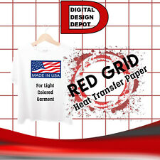 IRON ON HEAT TRANSFER PAPER RED GRID / LIGHT COLOR 25 SHEETS :)