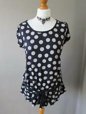 NEXT Ladies Black Beige Polka Dot Top T Shirt Elasticated Waist Tie Belt Size 16