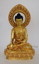 "Fine Qualiy 19"" Shakyamuni Buddha Gold Gilded Face Painted Copper Statue Patan"