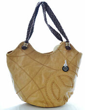 The Sak Indio leather Large tote shoulder bag woven straps Camel peace
