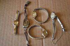 Vintage Lot 5 BULOVA Watches Wristwatch Women's Wind Up Work AS IS Gold RGP GF