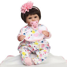 New born Cute Doll 17'' Silicone Baby Handmade Realistic Reborn Baby Dolls Girl