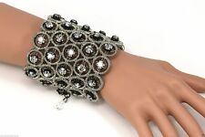 Jenny Packham Black Rhodium Metallic Threaded Bracelet with Accent Crystals