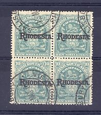 RHODESIA SG 112 1909 10/- IN BLOCK OF 4 USED