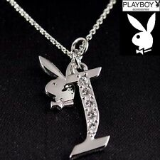 Playboy Necklace Initial Letter I Pendant Bunny Charm Crystals Platinum Plated