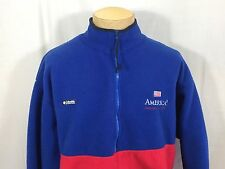 Americas Cup 1995 Sailing Columbia Fleece Jacket Yachting XL Blue Red Flag USA