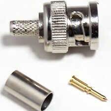 Qty 10-Bnc Enchufe Macho Crimp Connector-Cable Coaxial Rg58, Rg141, urm43, urm76