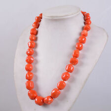"""NEW 11-14mm Orange red coral rondelle beads necklace 18"""" A++++"""