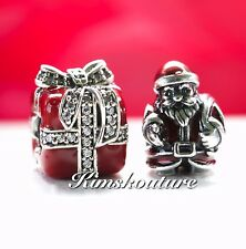 Authentic PANDORA Gift Set 2 Xmas Charms St. Nick Bead 791231ENMX, 791772CZ