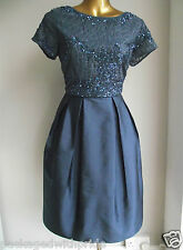 BN MONSOON BLUE EMBELLISHED TAFFY TAFFETA 50's PROM WEDDING BRIDESMAID DRESS 10