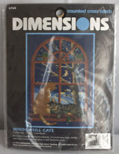 Dimensions Cross Stitch #6768 Windowsill Cats - Navy Cloth Winter Scene 1998