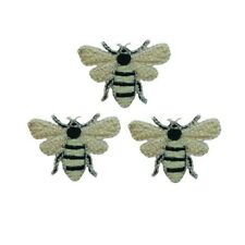 ID 0460 Lot of 3 Bees Bug Insect Embroidered Iron On Applique Patch