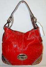 New Kathy Van Zeeland Patent Triple Compartment Hobo Bag Red