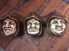Chalkware Wall Mount PIPE & MATCH HOLDER 3 Monk Faces Hooded Heads ANTIQUE 1800s
