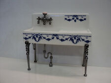 DOLLHOUSE REUTTER PORCELAIN KITCHEN SINK/BLUE DESIGN WITH DISH RACK