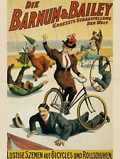 ADVERTISING EXHIBITION CIRCUS BARNUM BICYCLE CLOWN GERMANY POSTER PRINT LV768