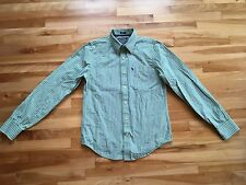 Abercrombie & Fitch MUSCLE FIT Men's M Striped Button Down Shirt - Green & Blue