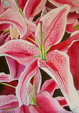 ORIGINAL ART- Stargazer  Pink lily flower watercolour painting