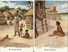 2 x Vintage Postcards E.S. Hardy Child Life Series - African and Papuan Village