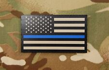 Infrared Thin Blue Line US Flag Patch Tan & Black Police SWAT SERT IR Gang Team