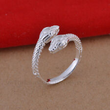 925 Sterling Silver Plated TWIN SNAKE RING Thumb/ Wrap Ring ADJUSTABLE Serpant